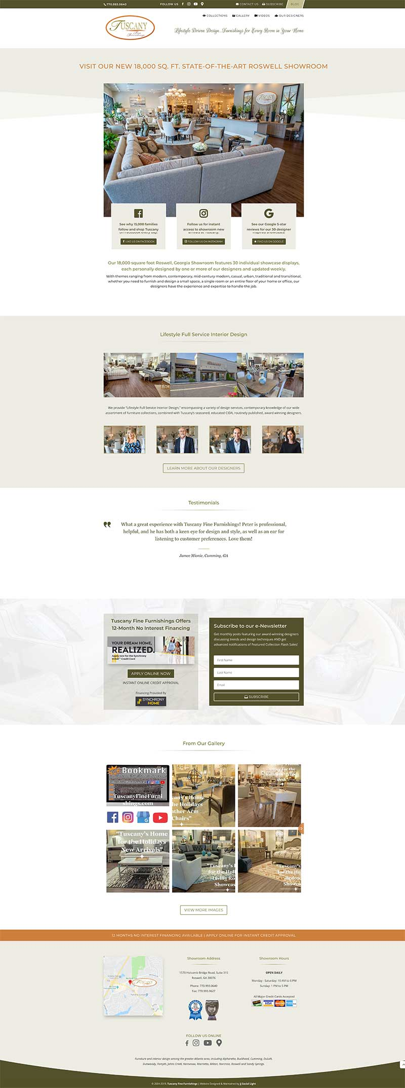 tuscany new home page web design